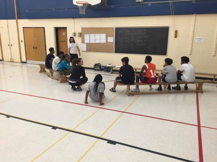 QSLA math basketball high school gym
