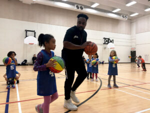 Coach Keir with Student-Athlete during our Mini BallMatics Youth Basketball Development Program